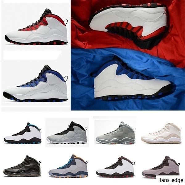 Yeni 10 S 10 Erkekler Basketbol Ayakkabıları Westbrook Çimento Tozu Mavi Çelik Gri Beyaz Siyah Bobcats Chicago Açık Spor Sneakers Boyutu 41-47