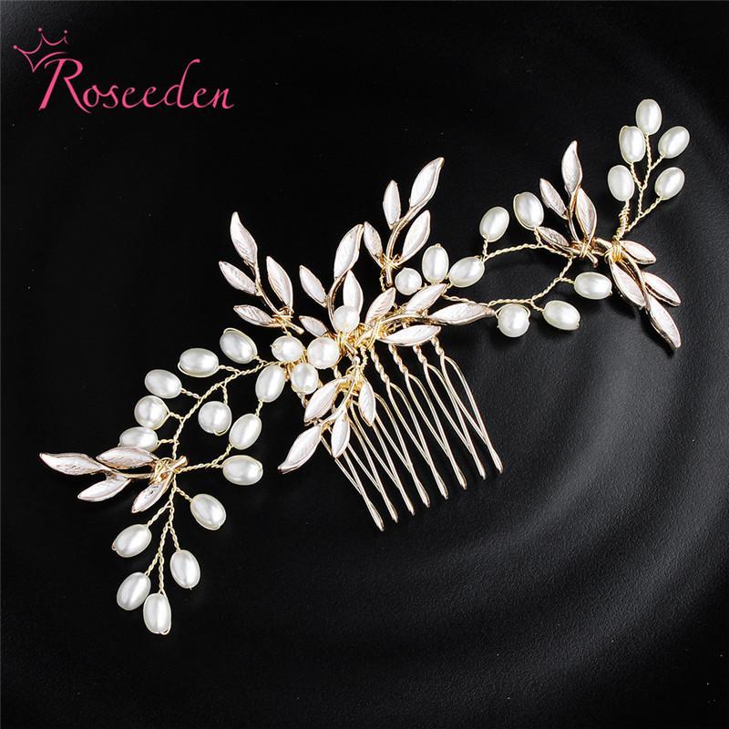 Gold Leaf Bridal Cheveux Peigne De Mariage Bandeau De Mariage Coiffure Accessoires Perles Femmes Cheveux Morceau Bijoux RE3437 J0121
