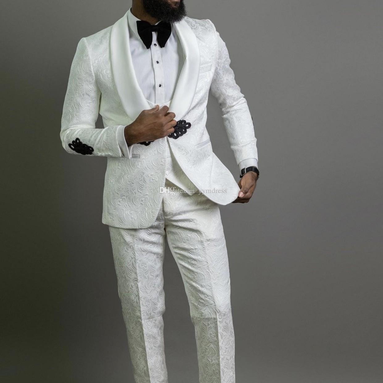 Classic Wedding Mens Suits Custom Groom Tuxedos Shawl Lapel Three Piece (Jacket +Vest+Pants) Male Blazer Prom Party Dinner