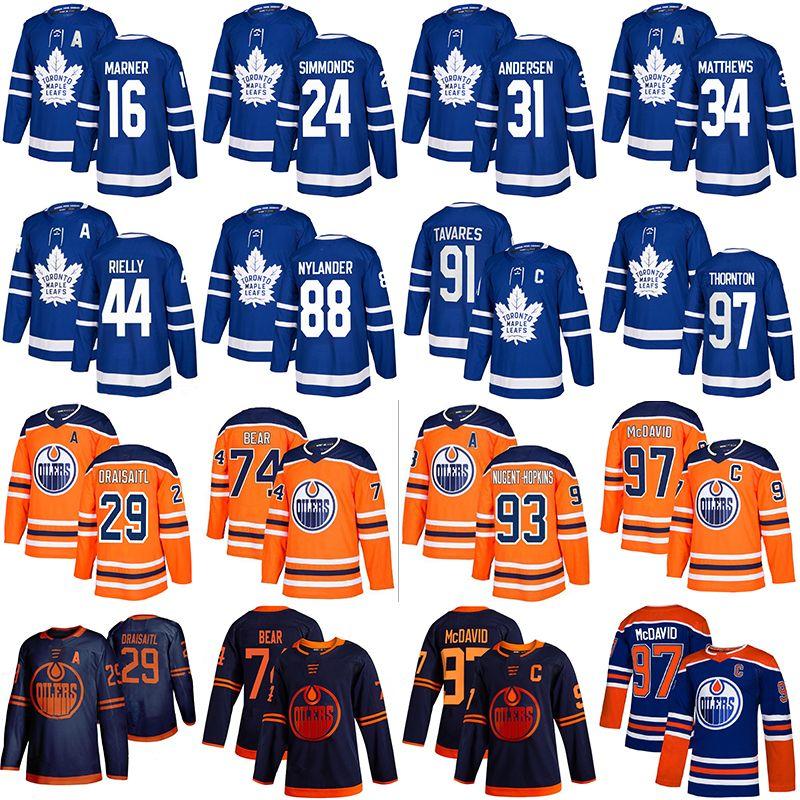 34 Auston Matthew 91 John Tavares 16 Mitch Marner 97 Thornton 24 Simmonds 97 Connor McDavid 74 Ethan Bear 29 Draisaitl Hockey Jerseys