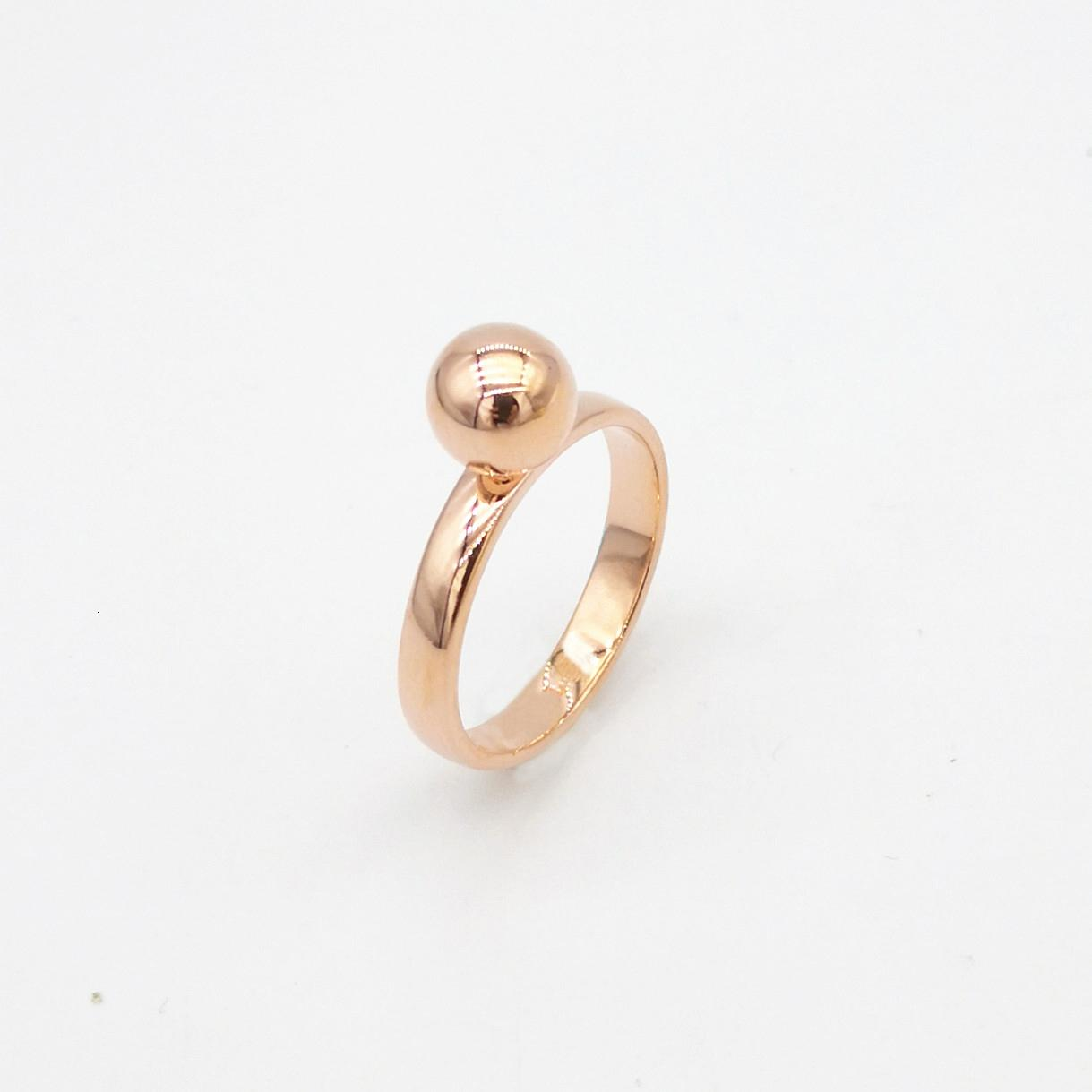 2021 New Classic Original Ms Sier Rose Gold 8 Mm Bead Couple Smooth Round Pearl Ring in Fashion Accessories Swqi
