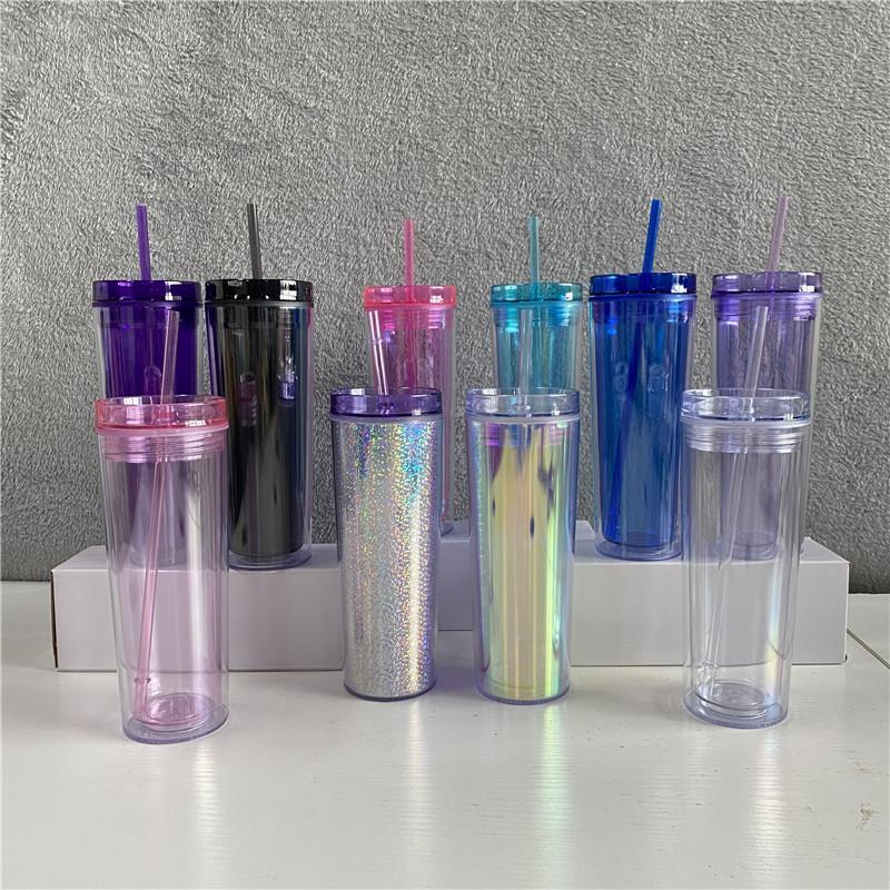 ¡¡Lo mas barato!! 10 coloreado 20 oz acrílico skinnny vaso con paja amurallada como tazas de plástico reutilizables Botellas de agua rectas claras 269 S2