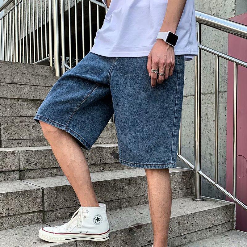 Pantaloncini da uomo Denim Men Solid Plus Size 5XL BAGGY Casual Vintage Chic All-Match Mens Brevi pantaloni Streetwear Fashion Ins High Street