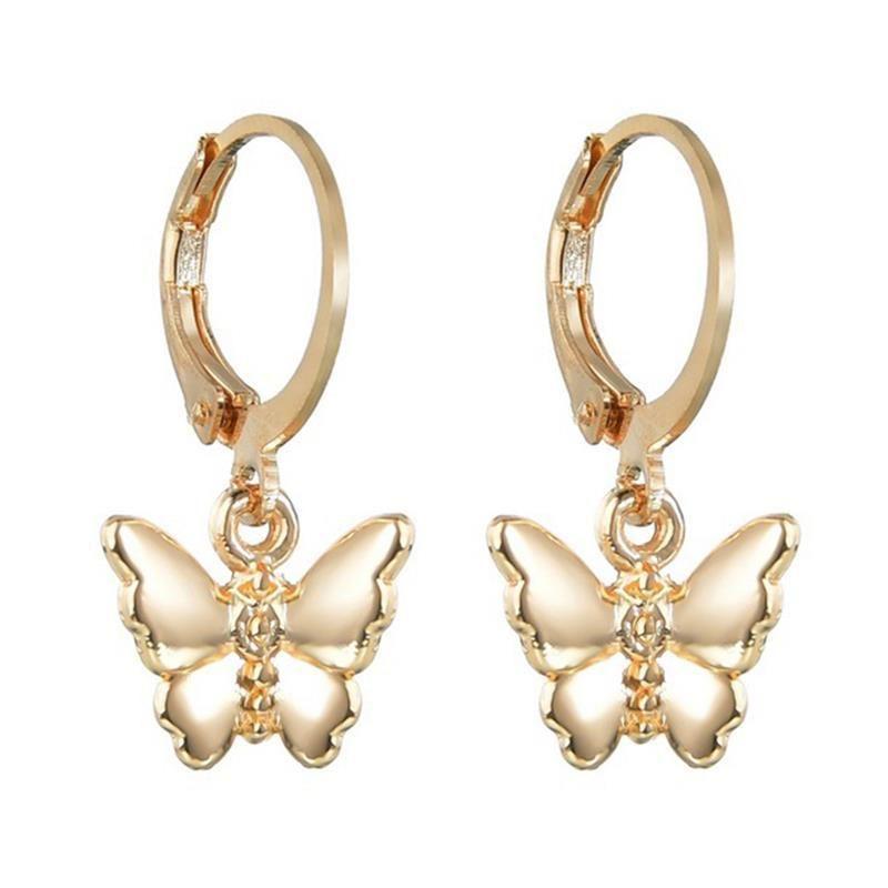 1 Pair Butterfly Hoop Earrings Fashion Pendant Earrings Piercing Jewelry Accessories For Women Girls Party Dress Up