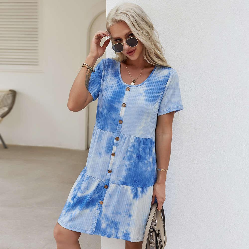 Независимая проектная станция Главная Повседневная одежда Женское платье 2021 Летняя галстука краситель Уютная юбка