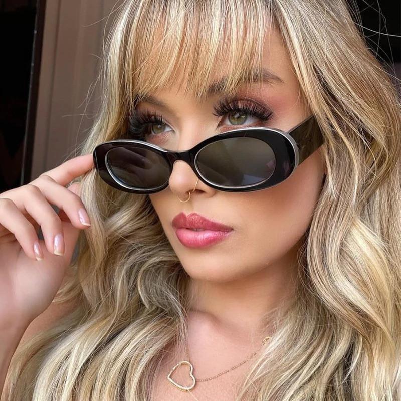 Retro Oval Güneş Kadınlar Gotik Punk Marka Tasarımcısı Trend Sun Gözlük Y2K Klasik Vintage Shades Gafas