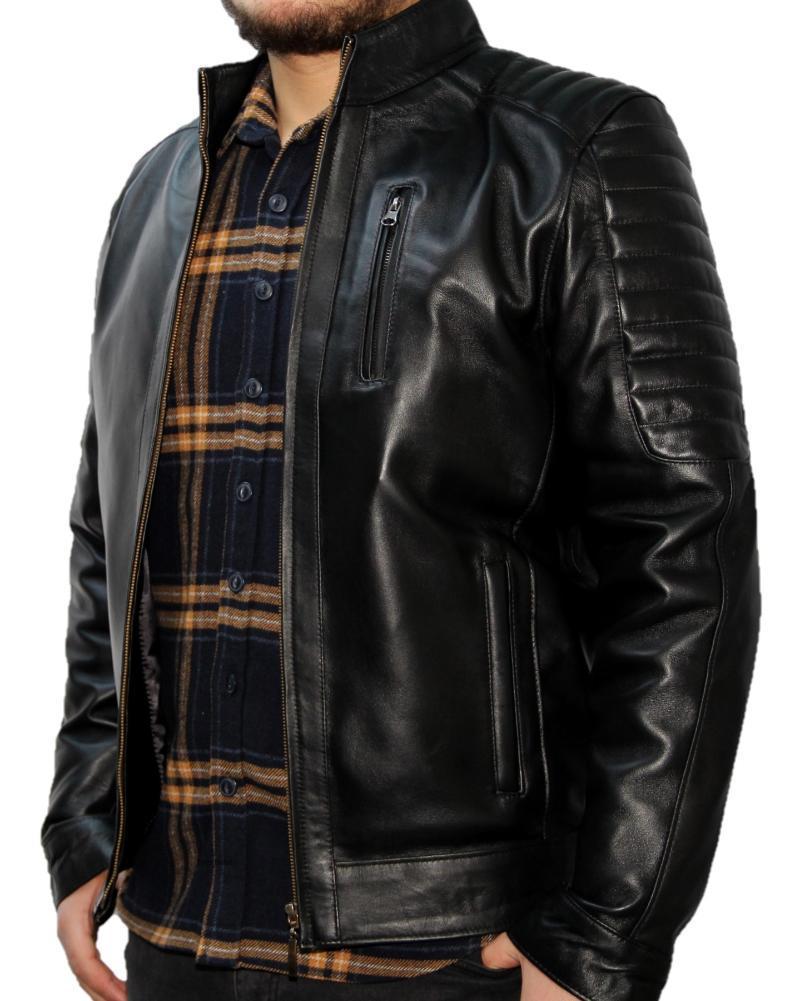 Manteaux en cuir noir pour hommes