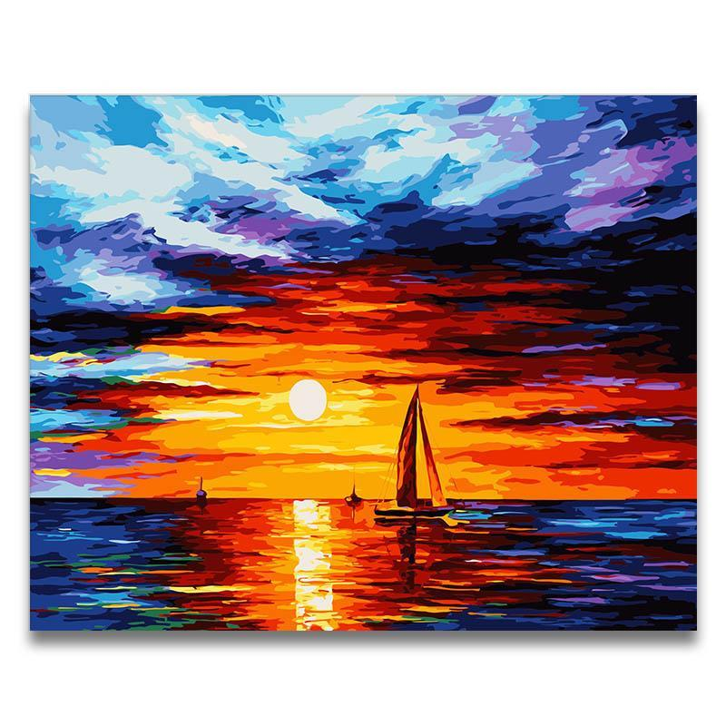Paintings CHENISTORY Frame Landscape DIY Painting By Numbers Kit Modern Wall Art Picture Acrylic Canvas For Home Decor