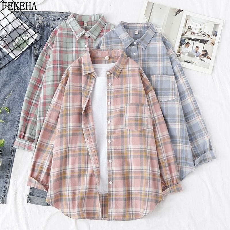 Women Blouses And Shirt Casual Plaid Shirts Loose Boyfriend Style 100% Cotton Ladies Tops Outwear Oversized 210223