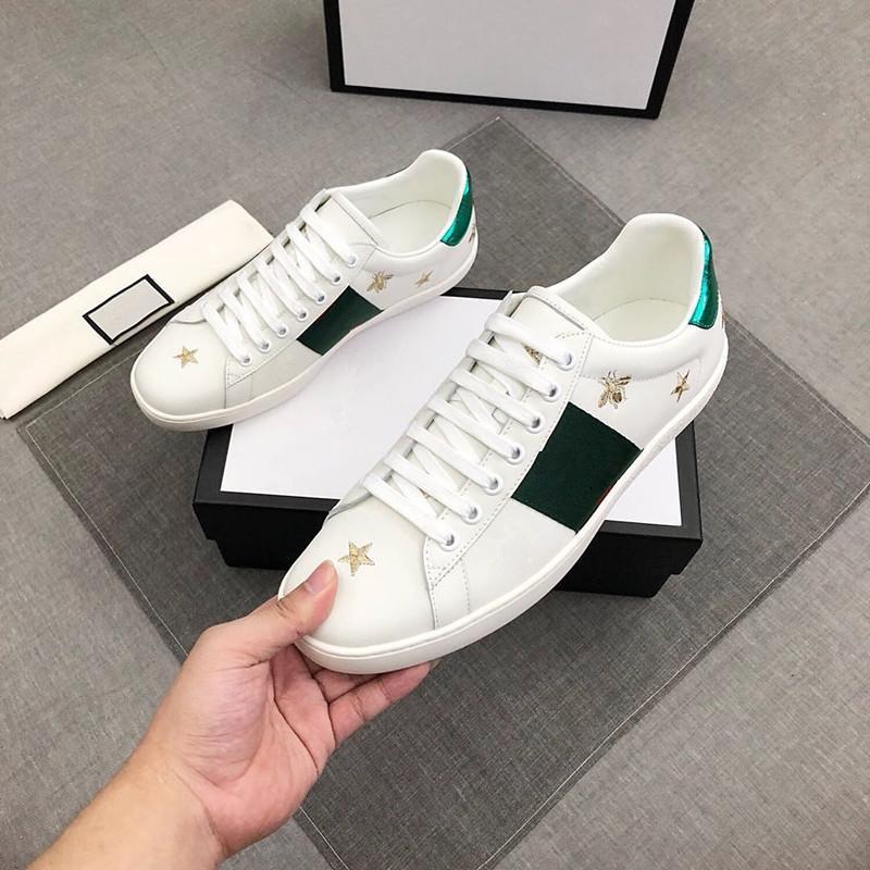 2021 Прибытие Италия Ace Luxurys Дизайнер Бренд Обувь для мужчин Женщины Модный Кроссовки Повседневная Обувь Качество Змея Chaussures Кожаные кроссовки с оригинальной коробкой