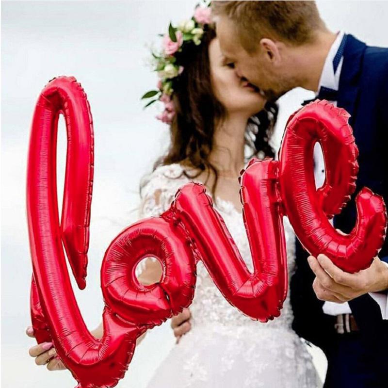 Ligatures Love Letter Foil Balloon Balloon Anniversario Matrimonio San Valentino festa decorazione della festa Amore Lettera Lip Balls Forniture per feste
