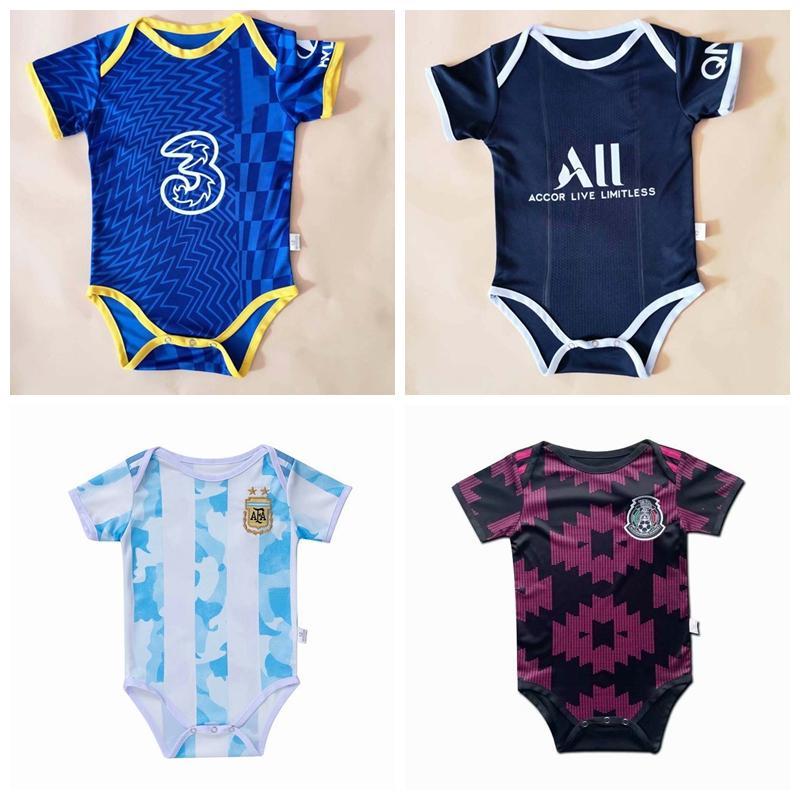 2021 2022 футбол для футбола Аргентина Милан Мексика Париж Япония Германия Франция Kante Havertz MBappe Real Madrid Baby Rompers Boy Girl Romper комбинезон одежды одежды