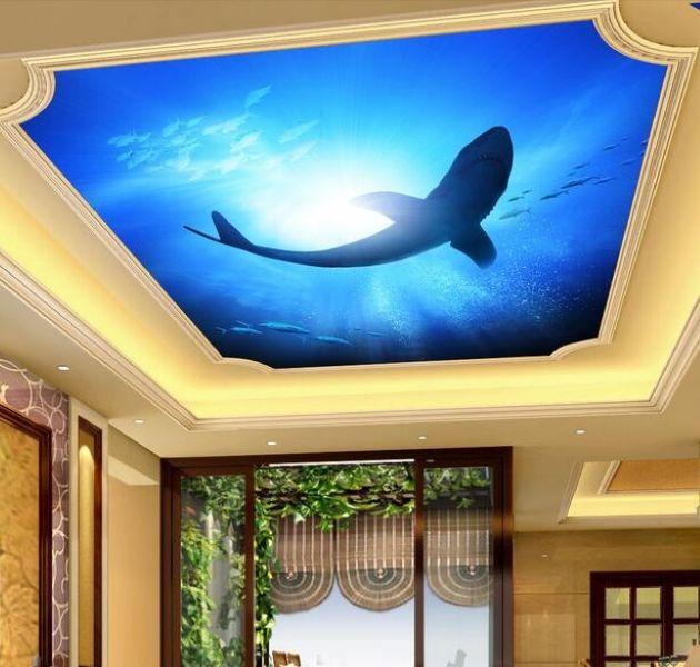 Fondo de papel tapiz de murales de techo 3D Foto de archivo de tiburonte del océano en la sala de estar Decoración para el hogar Murales de pared 3D para las paredes 3 d