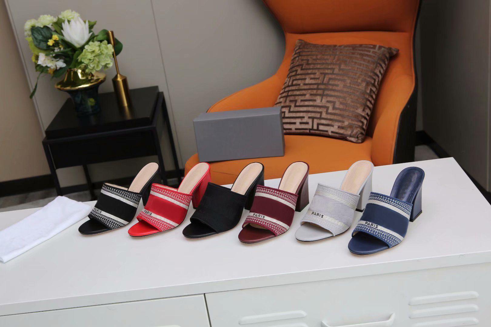Les plus récents d'été femmes talons hauts pantoufles Sandales à rayures Sandales à rayures Dames Casual Scuffs Sandales à talons Sandales en plein air Boîte de pantoufles