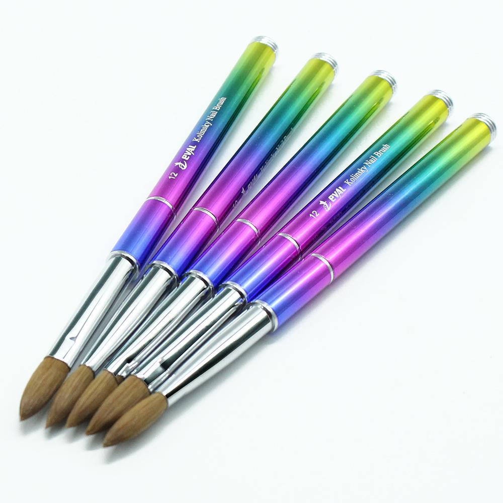 1 ADET Akrilik Tırnak Fırçası Kolinsky Sable Saç Fırçası UV Jel Tırnak Fırçası Nail Art Manikür Tozu Pedikür Degrade Metal Saplı