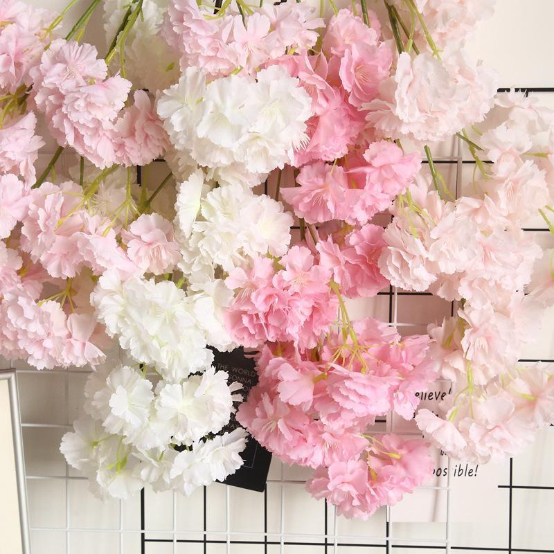 Flores decorativas guirnaldas flor artificial cereza primavera plum durazno flor ramificación seda árbol de seda para decoraciones de fiesta de bodas