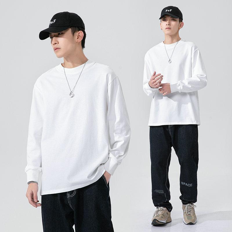 2021 Bahar Yeni Uzun Kollu Yuvarlak Boyun T-shirt erkek Marka Kore Moda Baz Gömlek Eğlence