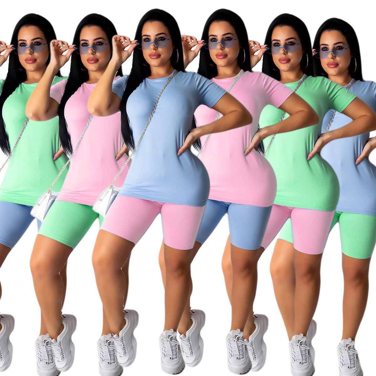 Womens 2 Stück Kurzes Sets Massivfarbe Casual Sports Anzug T-Shirt Hosenanzug Zwei Teil Set Trainingsanzug 2021 Sommerstil