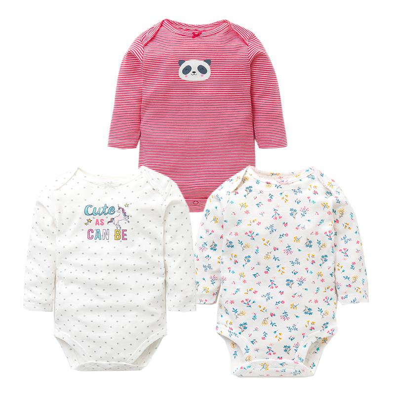 3PCS/LOT Baby Bodysuits Autumn Top Quality Baby Girl Boy Clothes 100% Cotton Long Sleeve Underwear Infant Baby Jumpsuit 0-24M 210315