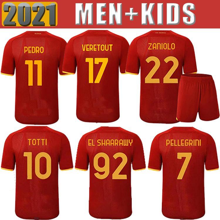 Soccer Jersey Roma Zaniolo Dzeko Pastore Roma Totti Kluivert Kolarov 21 22 Camicia da calcio 2021 Men + Kid Kit Uniformi Maillot Pellegrini Florenzi Kalinic