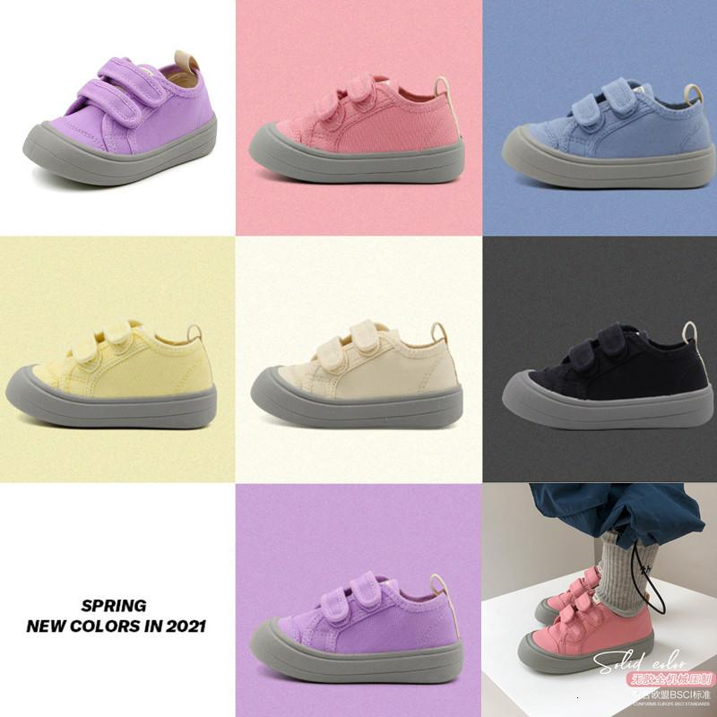 2021 New Spring Children Canvas Top Brand Shoes Raiow Boys Buckle Casual Sneaker Girls Students Soft Baby Infant Sport Running O2gt
