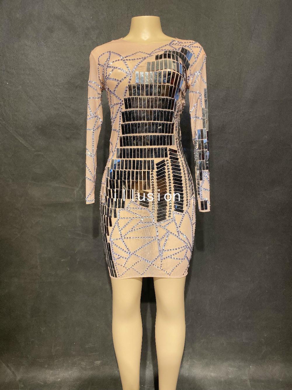 Новые блестящие серебряные зеркальные блестки сетки платье женского дня рождения празднуют ночной клуб Outfit Sexy см. Через дратоны платья