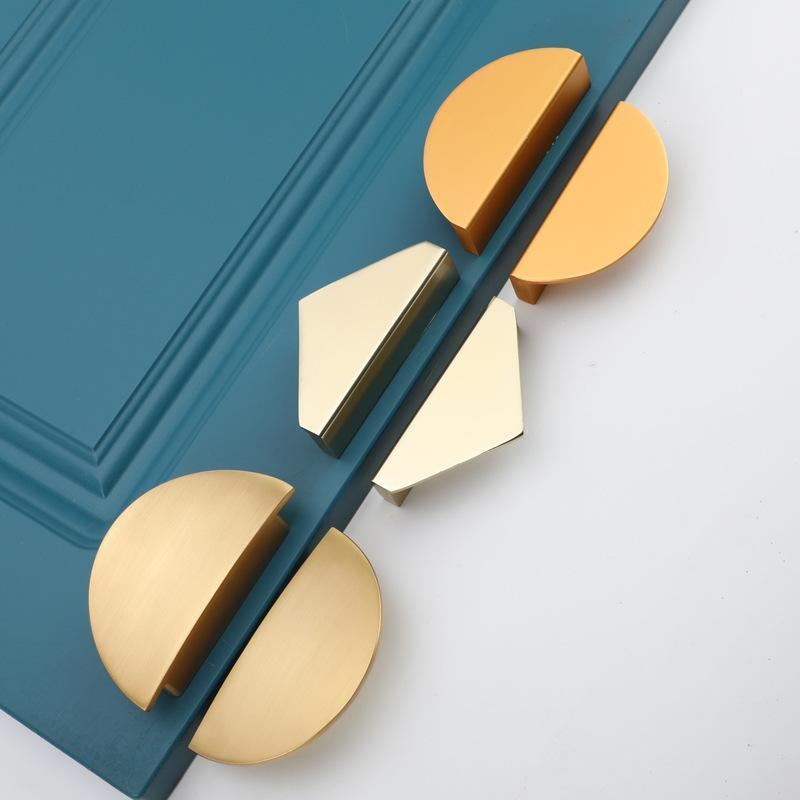 Handles & Pulls 64mm Modern Simplicity Cabinet Door Pull Gold Black Half Round Drawer Knob Zinc Alloy Furniture Hardware Accessories