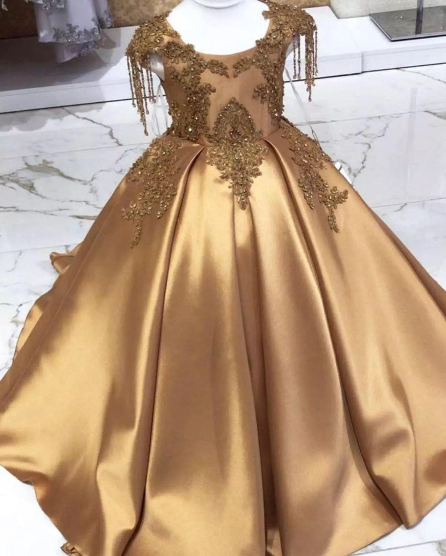 Gold Kristall lange Blume Mädchen Kleid Pageant Kleider Perlen 2021 Kleinkind Säuglingskleidung Kleine Kinder Geburtstagskleider