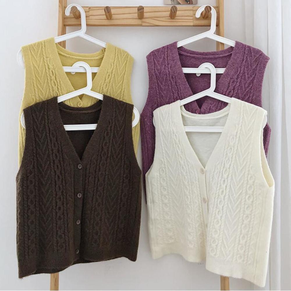 2020 Korean Knitted Cardigan Sleeveless Female Sweater Vest Ladies V-Neck Tops Teenager Girls Waistcoat Women Coat