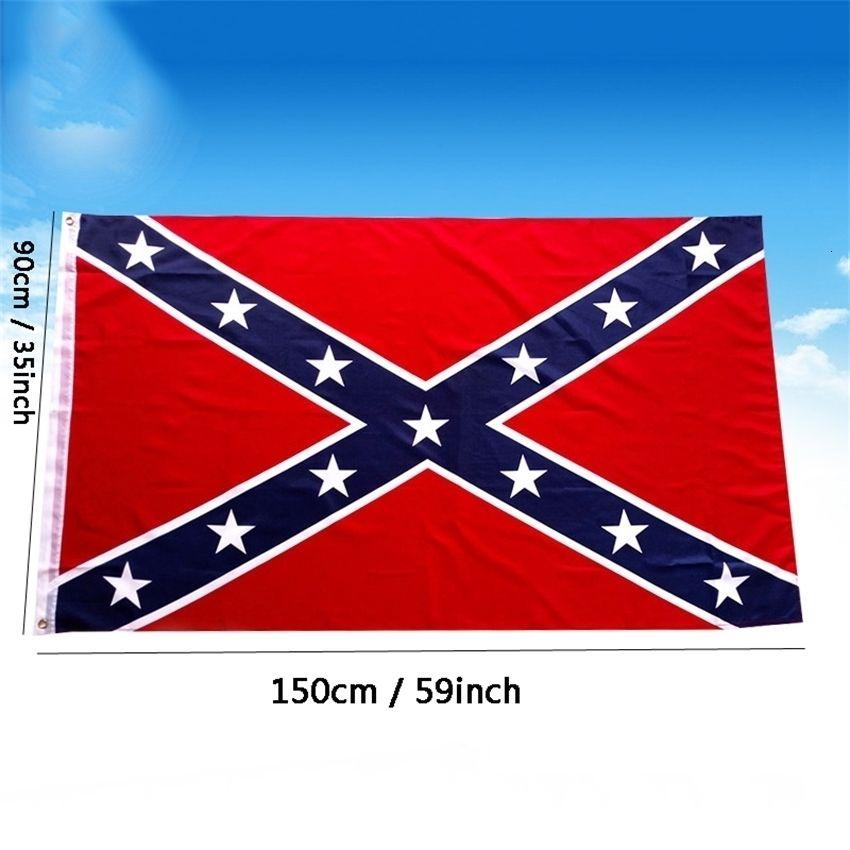 Krieg 3x5 ft Zwei Seiten Printed Konföderierte Zivilrebel Flagge Polyester Nationalflaggen Banner Anpassbare DBC BH2687