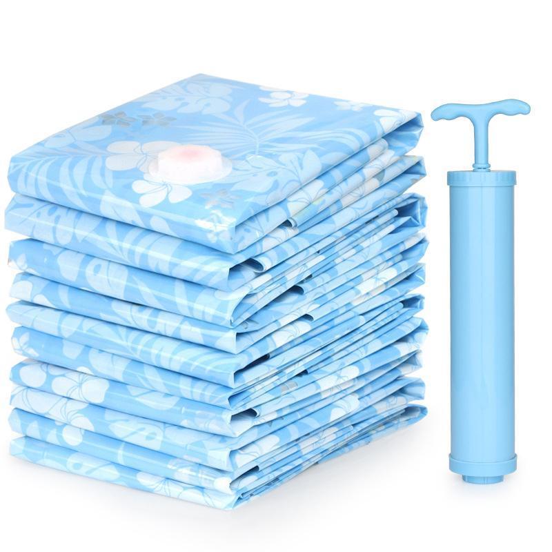 Bolsa de almacenamiento de vacío bolsa comprimida al vacío con bomba de mano Manta Ropa de manta Almacenamiento de colcha reutilizable 11pcs / set Home Organizer