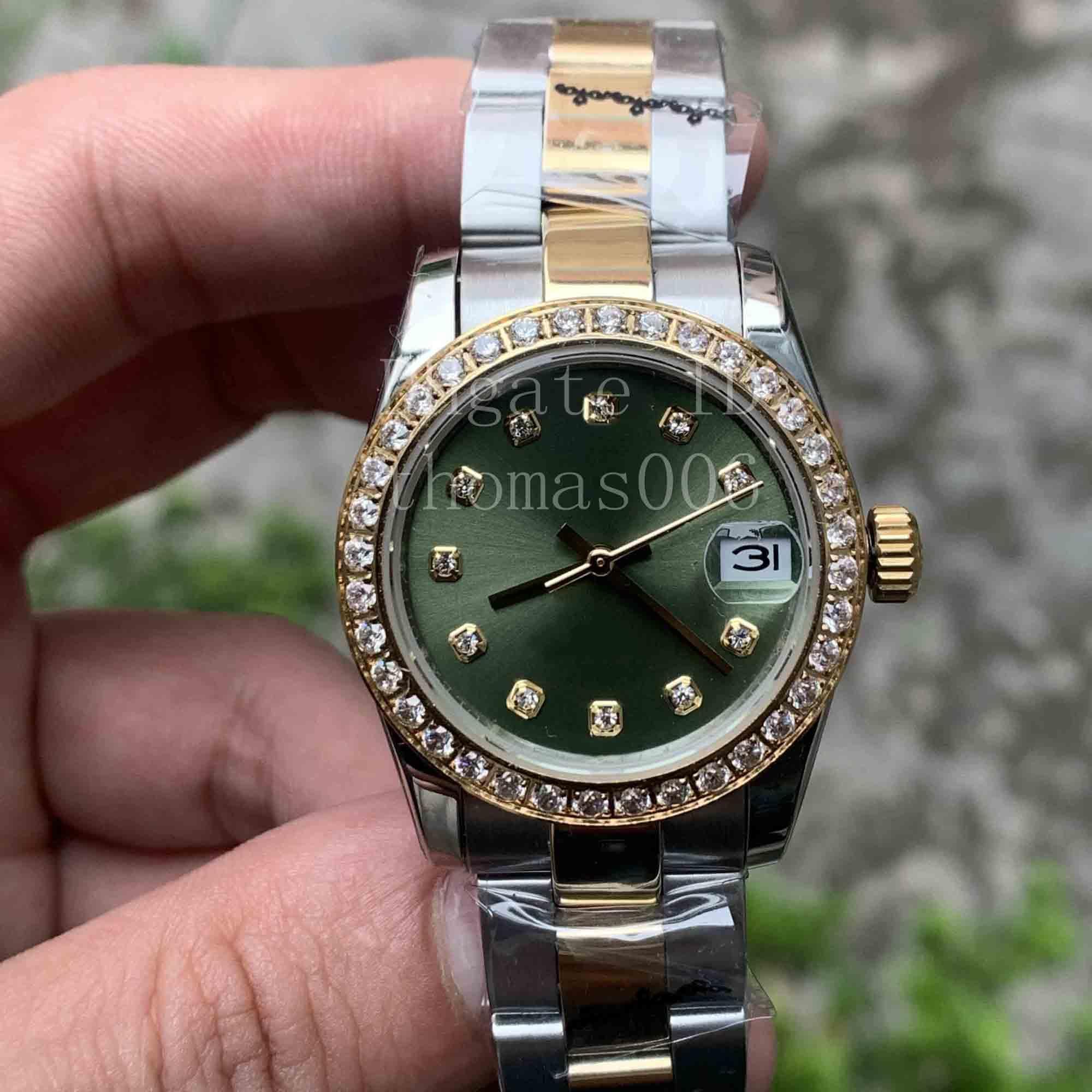 13 스타일 베스트 셀러 고품질 2 톤 골드 대통령 스트랩 다이아몬드 베젤 여성 스테인레스 시계 자동 기계식 시계 31mm