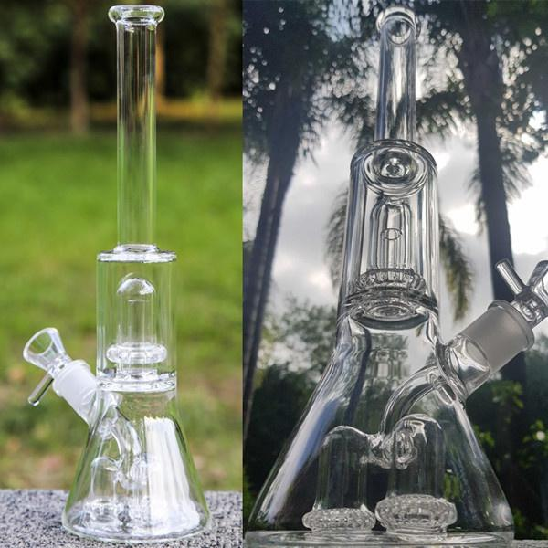 13.3 polegadas Beaker Base Bong Hookahs Tubos de Fumo Bubbler Gravidade Vidro de Vidro Bongo Reciclador Dab Rigs com 18mm Bowl
