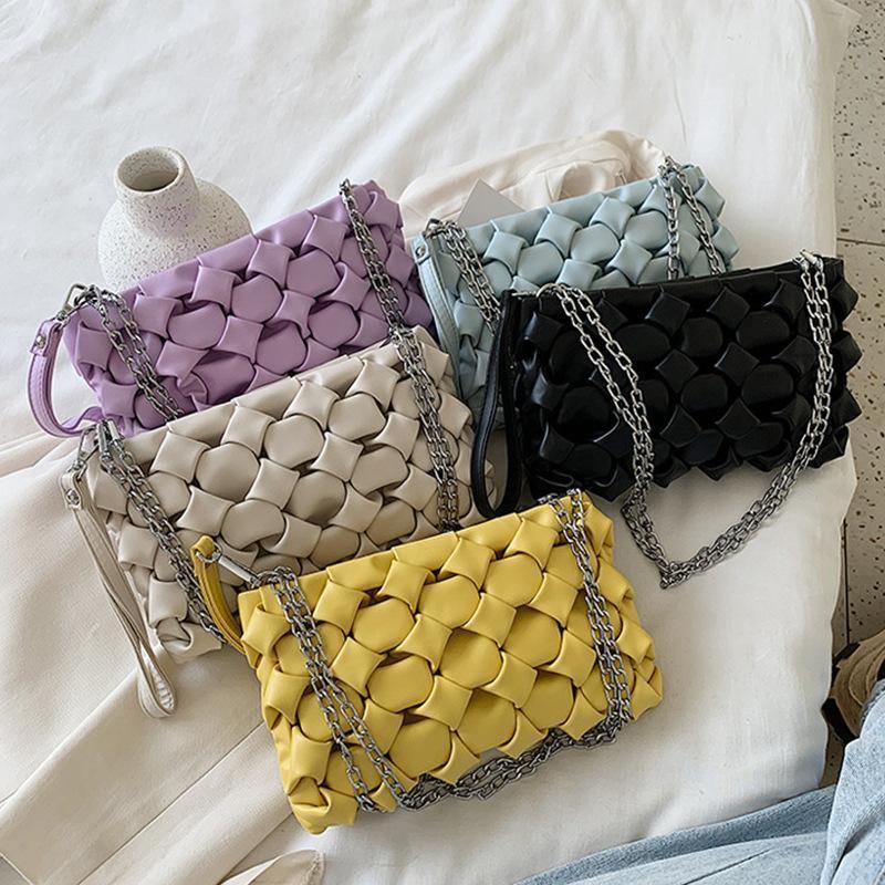 Bolso de hombro de CasualWomen Woven Cadena Crossbody Bolsa PU Bolsas de almacenamiento de teléfonos celulares de cuero