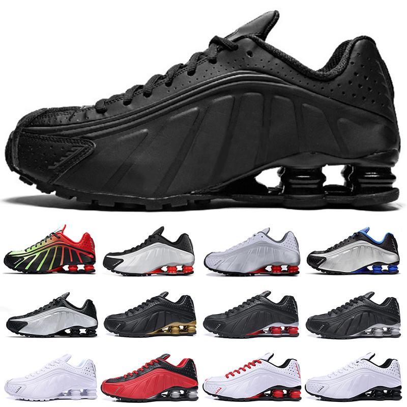 2021 En Kaliteli Koşu Ayakkabıları Metalik Renk Teslim R4 Erkek Chaussures Oz NZ 301 Spor Sneakers Siyah Beyaz Arttırıldı Yastık Zapatillas