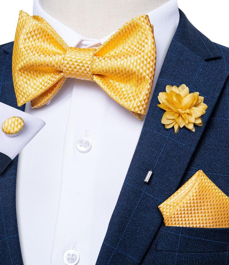 Bogen bindungen mode gelbe feste männer hochzeit partei bräutigam bowknot brosche pin set 100% seide schmetterling gravatas geschenk für männer dibangu
