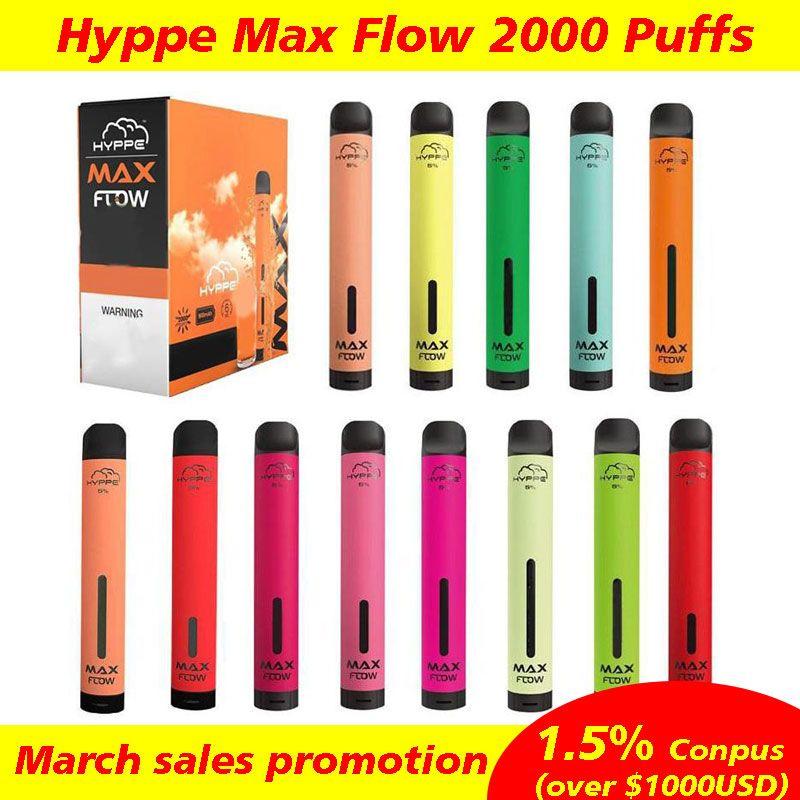 Hympe Max Flow Vaper Jauge Pod Device Pod Kit de démarreur Vape local E jetables E Cigarettes 2000 Puffs Vape jetable Vape