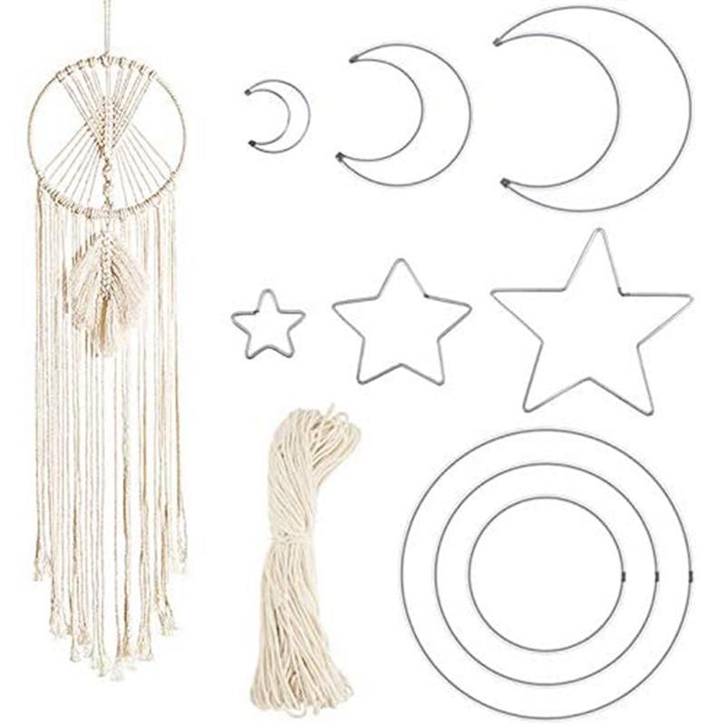 Dekorative Objekte Figuren Einzelhandel Metall Quaste Seil Runde Half Moon Catcher Reifen von Baumwolle Geeignet für DIY-Kranz Hängende Schmuck Hand