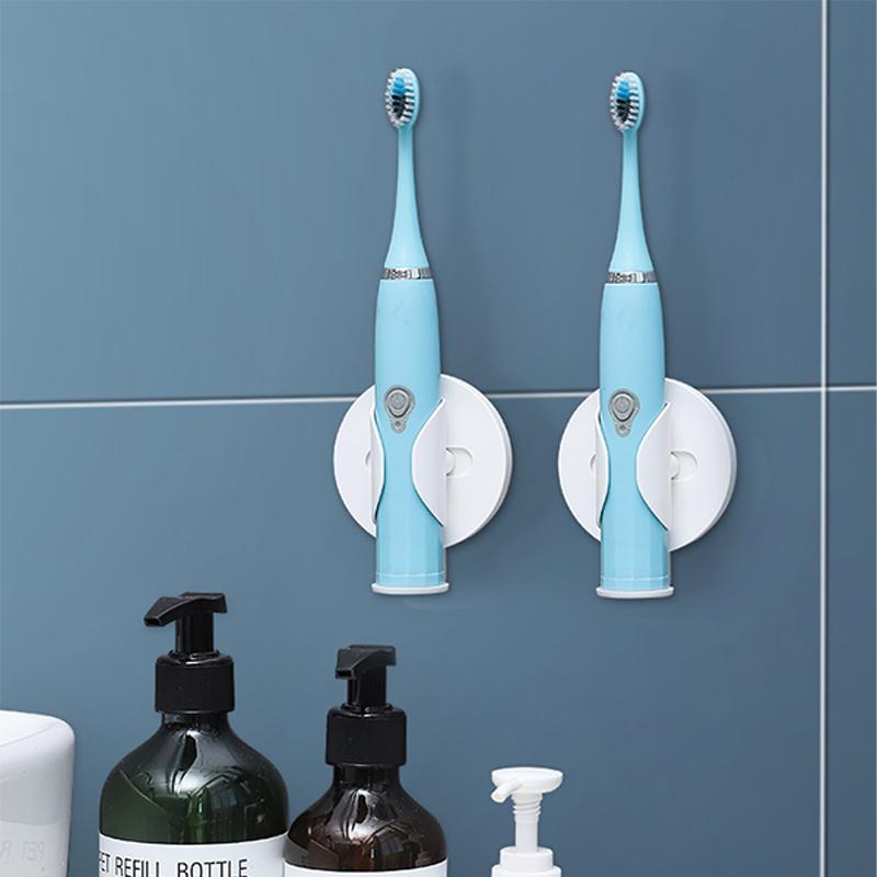 PunchFree Baño Soporte de cepillo de dientes Cepillo de dientes eléctrico Soporte de estante de almacenamiento con ventosa Taza de succión Espacio de pared Saving Organize Y0220