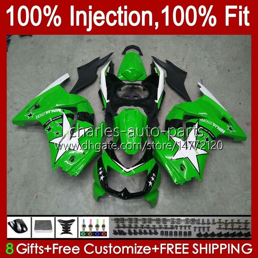 Injektion för Kawasaki Ninja ZX250R EX250R ZX-250 ZX 250R 13HC.85 ZX250 2008 2009 2010 2011 2012 Green Factory EX250 08 09 10 11 12 FAIRING