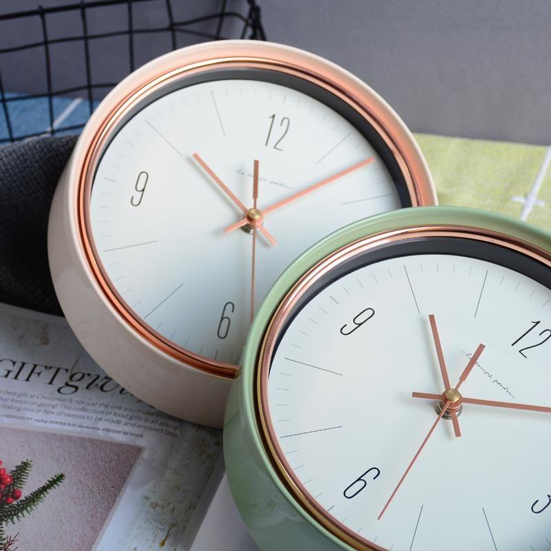Simples moderno relógio de parede nórdico moda luxo relógio de parede criativo silencioso redondo plástico orologio parete sala de estar DJ60WC