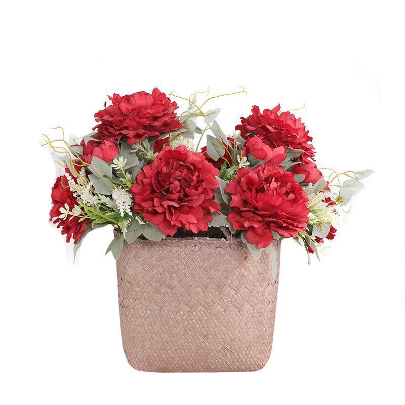 Flores decorativas grinaldas 1 buquê 12 cabeças artificiais peônia decoração de casamento arranjo averrália flor falsa diy decor