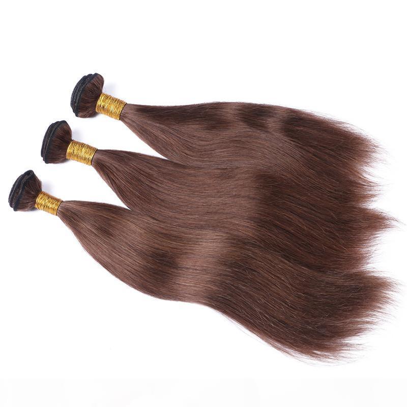 실키 스트레이트 버진 페루 초콜릿 갈색 인간의 머리카락 짜기 확장 3pcs # 4 중간 갈색 머리카락 번들 도매 이중 위사
