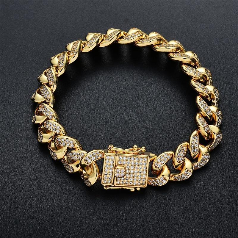 Mens Hip Hop Gold Bracelets Simulated Diamond Bracelets Jewelry Fashion Iced Out Miami Cuban Link Chain Bracelet 28 T2