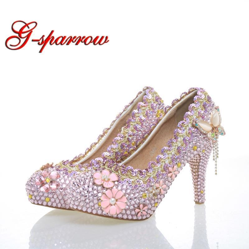 New Fashion Platform Pumps Pink Rhinestone Wedding Shoes High Heel Gorgeous Crystal Wedding Ceremony Pumps Party Prom Shoes