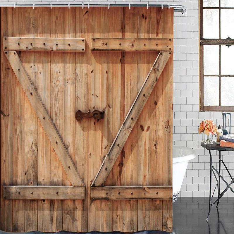 Duschvorhänge Holztür Textur Vintage Vorhang Polyestergewebe Badezimmer Wohnkultur Wasserdicht mit Haken
