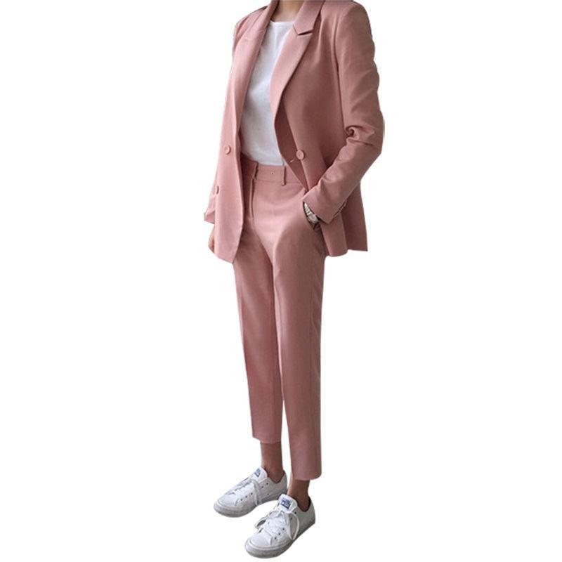 2 Parça Topluluğu Pembe Takım Elbise Kadınsı Moda İngiliz Tarzı Bayan Bırak Kadın Giysileri I6UF