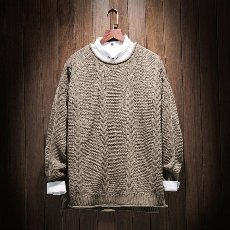Yeni erkeklerin m ~ 5XL! Giyim Artı Boyutu Işlemeli Retro Kafa Gevşek Örme Kazak Trend Korece Çünkü F7VE