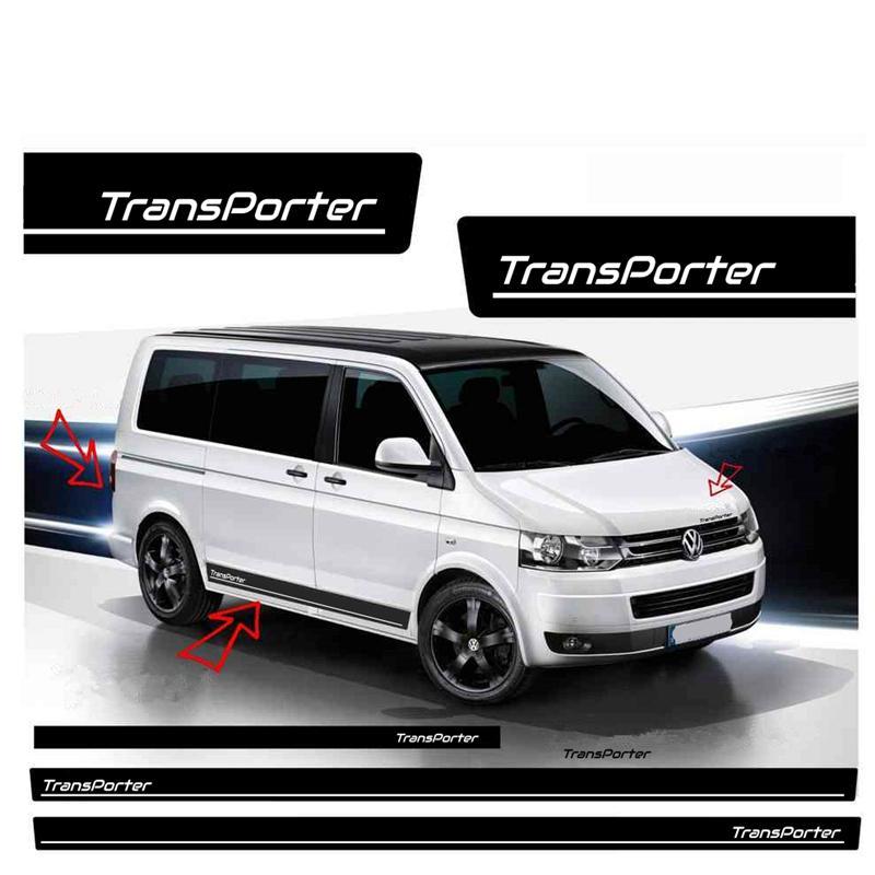 Volkswagen Transporter T4 T5 T6 자동 바디 액세서리 스포츠 스티커 4pcs 자동차 문 사이드 스커트 줄무늬 스티커 비닐 데칼