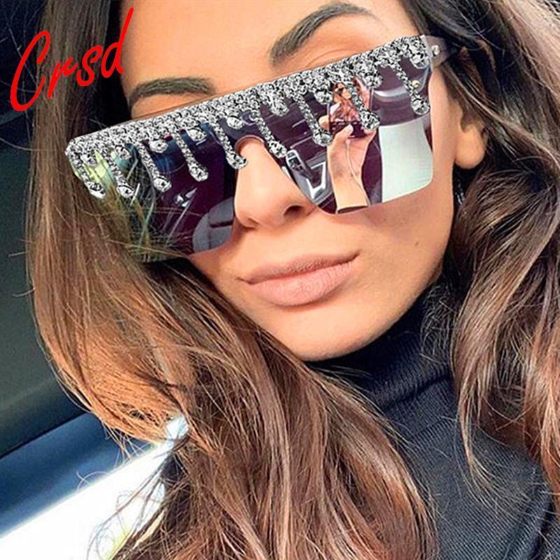 CRSD 2021 DIY Shining Diamond Sunglasses Women Brand Designer Dripping Plastic Square Sun Glasses Female Rimless Colorful Shades